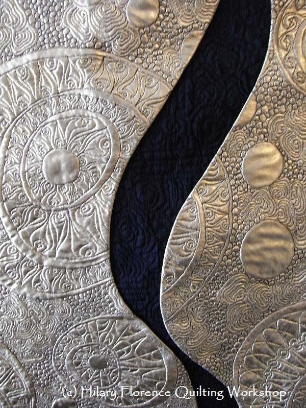 Free motion quilting on metallic gold foil fabric, original free motion quilting design, art quilt, Festival of Quilts 2014