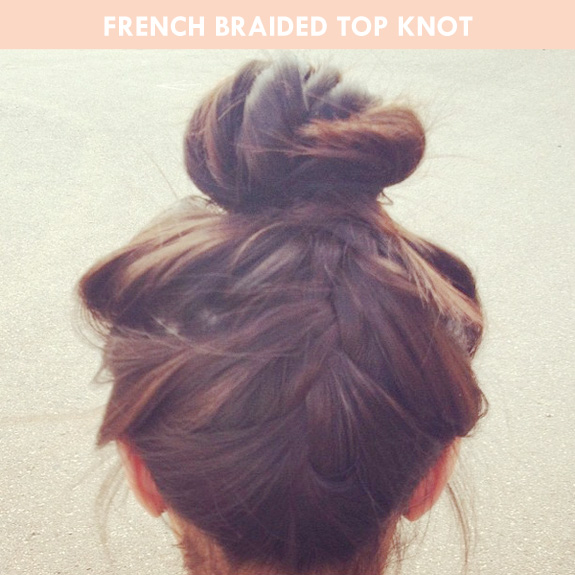 hair tutorial: french braided top knot