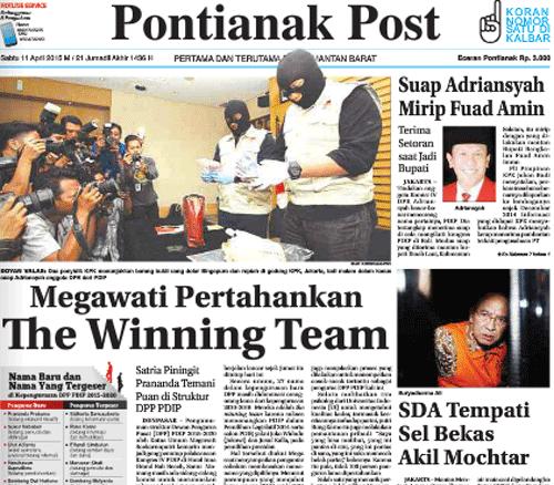 Tampilan depn Epaper Pontianak Post tanggal 11 April 2015