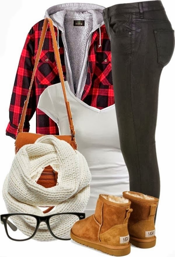 Stylish Outfit - Black Jeans and Long Bag, Check Shirt with White Suitable Scarf And Ugg Boots