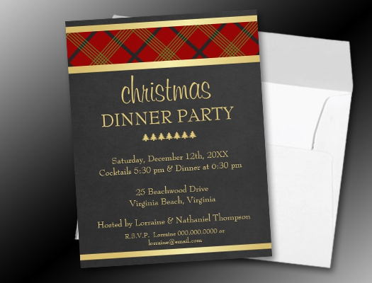 Elegant Christmas Party Plaid & Gold Invitations