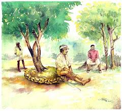 in a village-Watercolor