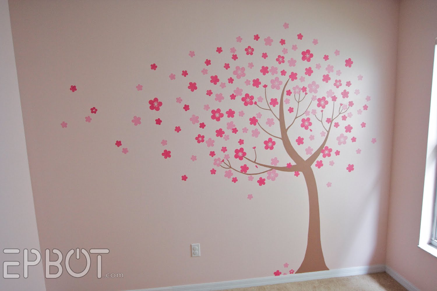 Epbot the cherry blossom nursery for Cherry blossom wall mural stencil
