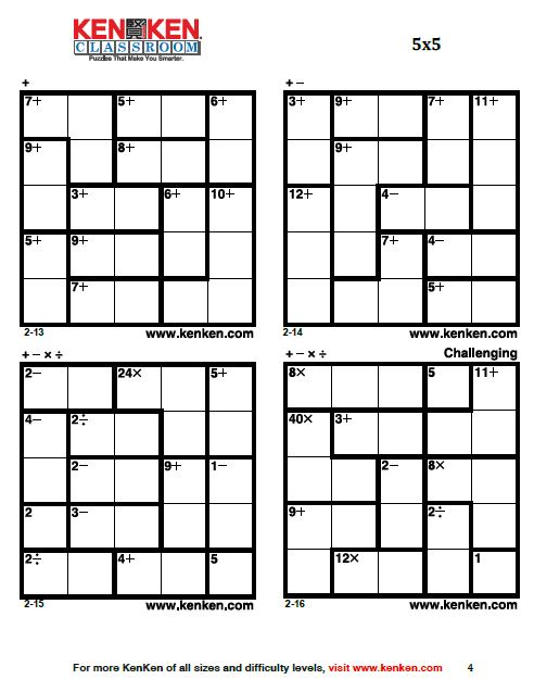 Sweet image for kenken puzzles printable