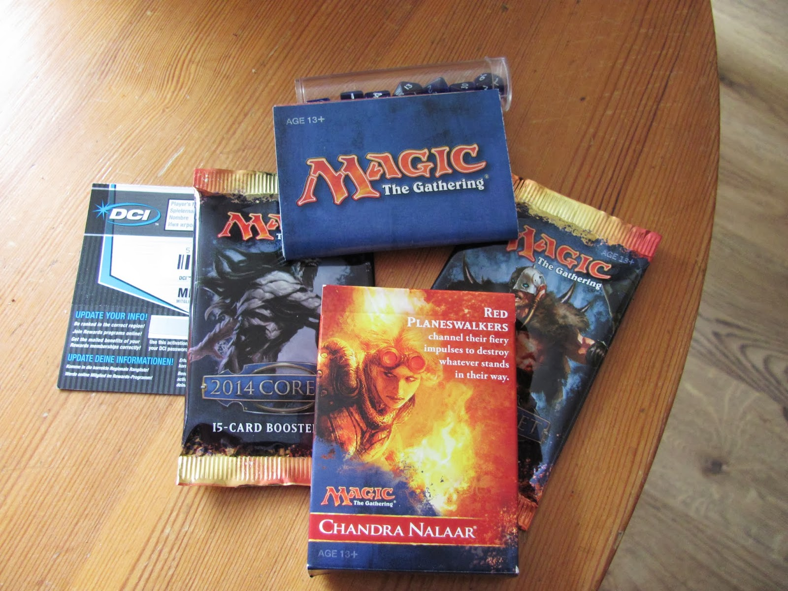 One starter deck and two booster packs of Magic: The Gathering cards