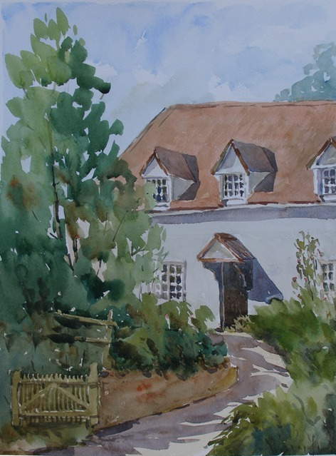 Casa en Stoke-by-Nayland, acuarela