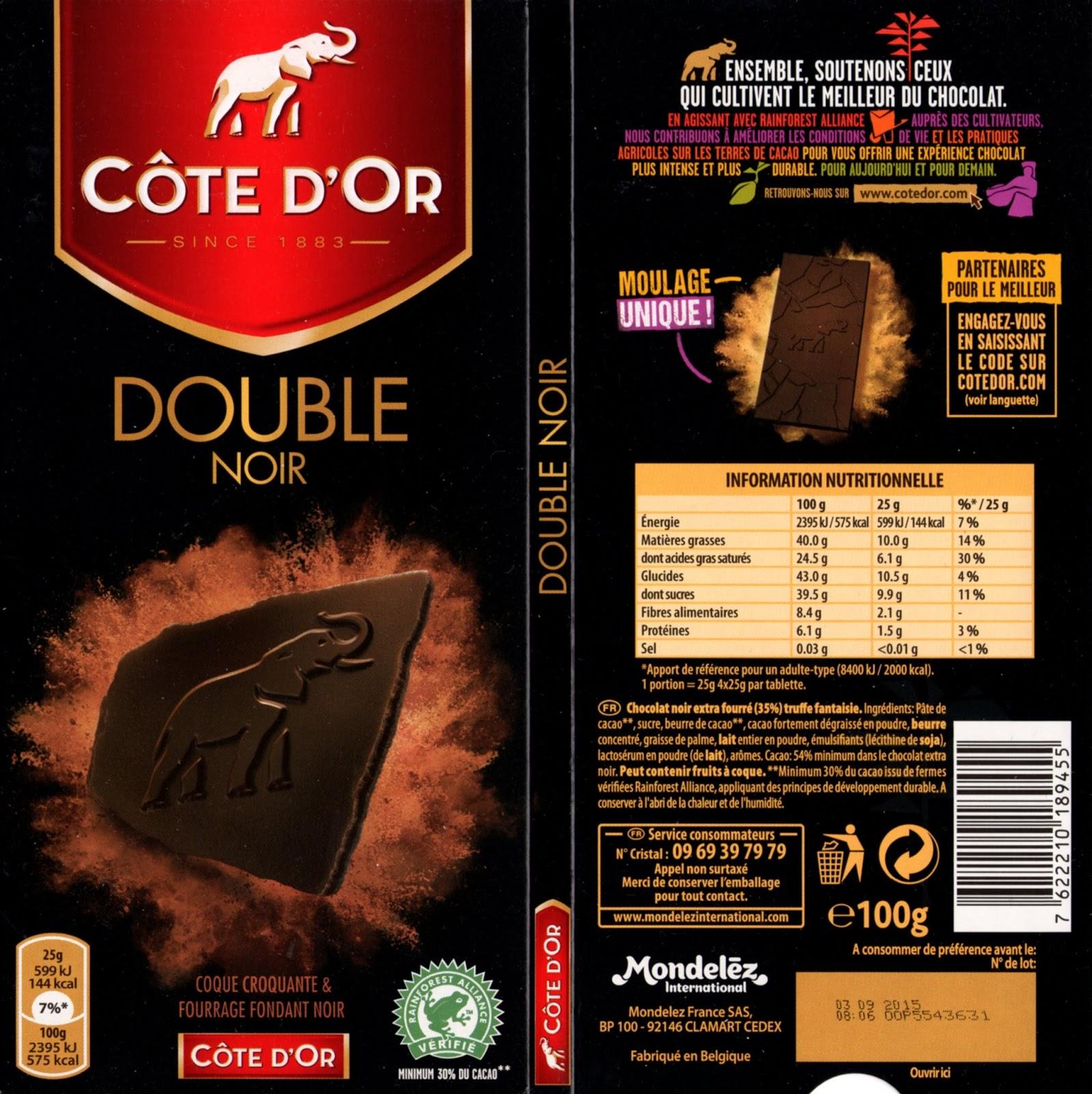 tablette de chocolat noir dégustation côte d'or double noir
