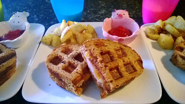 waffled turkey/cheese/fig spread panini sandwich