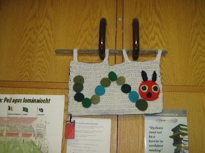 Crocheted catapillar tapestry