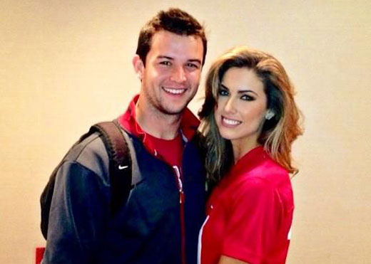 Aj Mccarron and Katherine Webb romantic hug