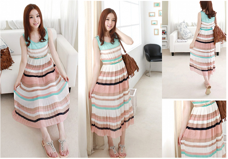 Chiffon Pleated Long Dress RM40