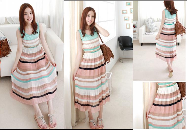 Chiffon Pleated Long Dress RM40