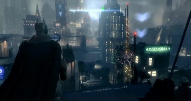 Batman standing in front of the Gotham City skyline in the video game Batman: Arkham Origins.