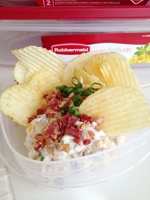 Loaded Baked Potato Dip Getting Ready for the Big Game with Rubbermaid ...