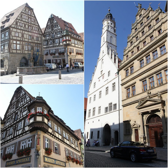 The unique  structure of houses and town hall in white building in Rothenburg, Germany