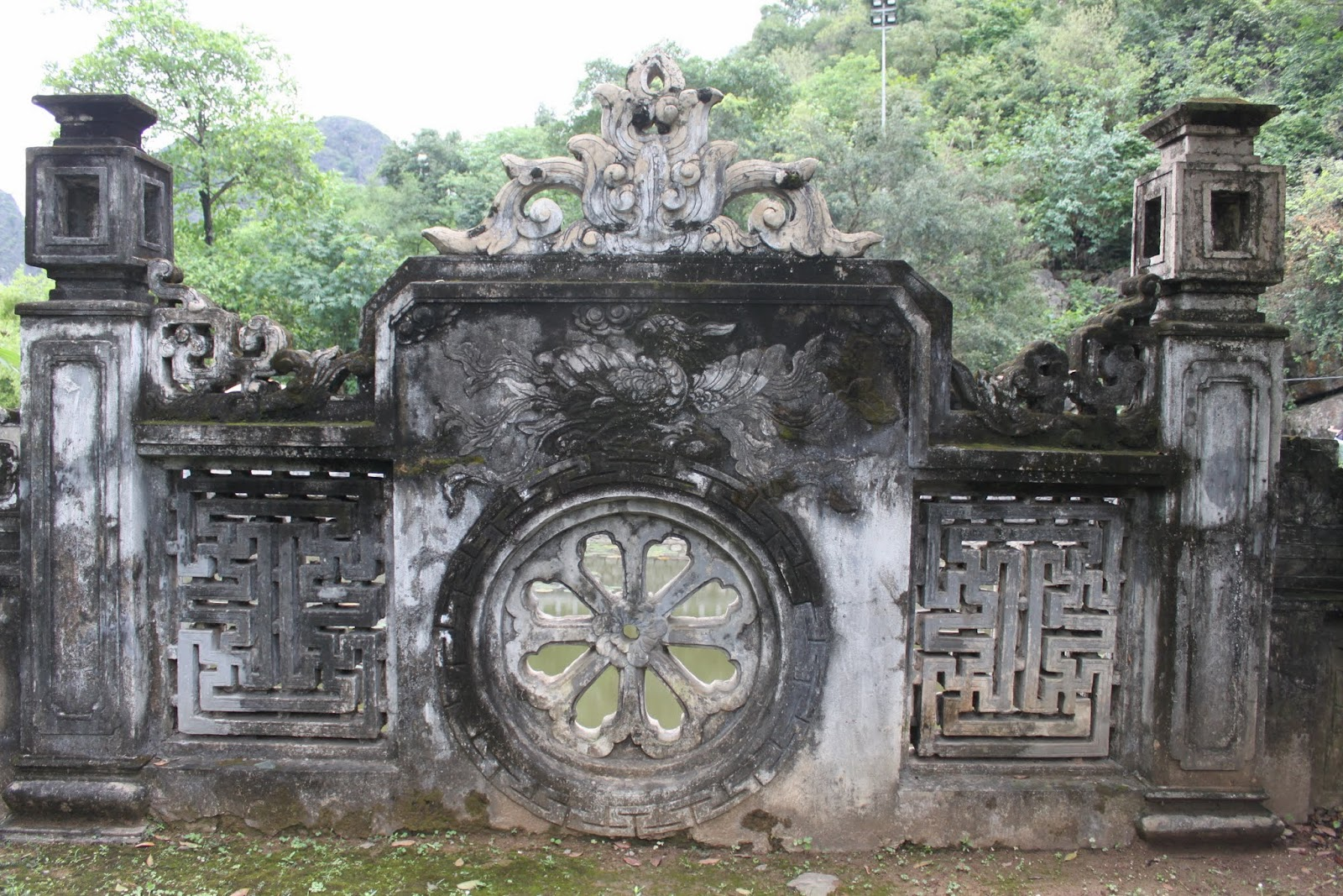 A well maintained of the unique structure nearby the lake at King Dinh Lake Temple at Hoa Lu Capital in Vietnam