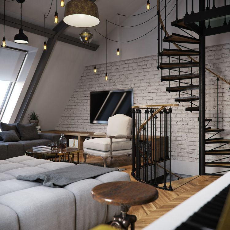 Slanted attic apartment by vladimir bolotkin home img for Spiral staircase to attic bedroom