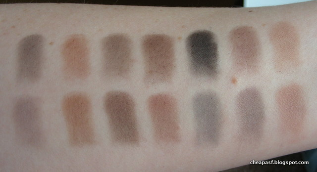 Swatches of Paula's Choice The Nude Mattes (top row) and TheBalm Meet Matt(e) Nude (bottom row)