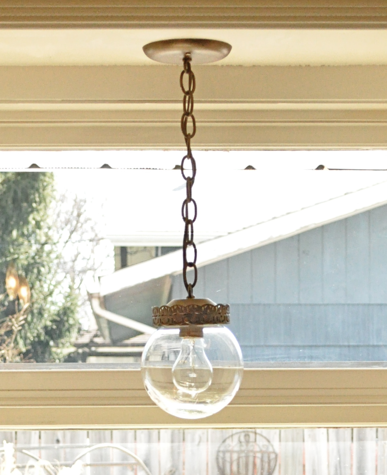 My kitchen\'s new-old light fixture make over...thrift store pendant ...