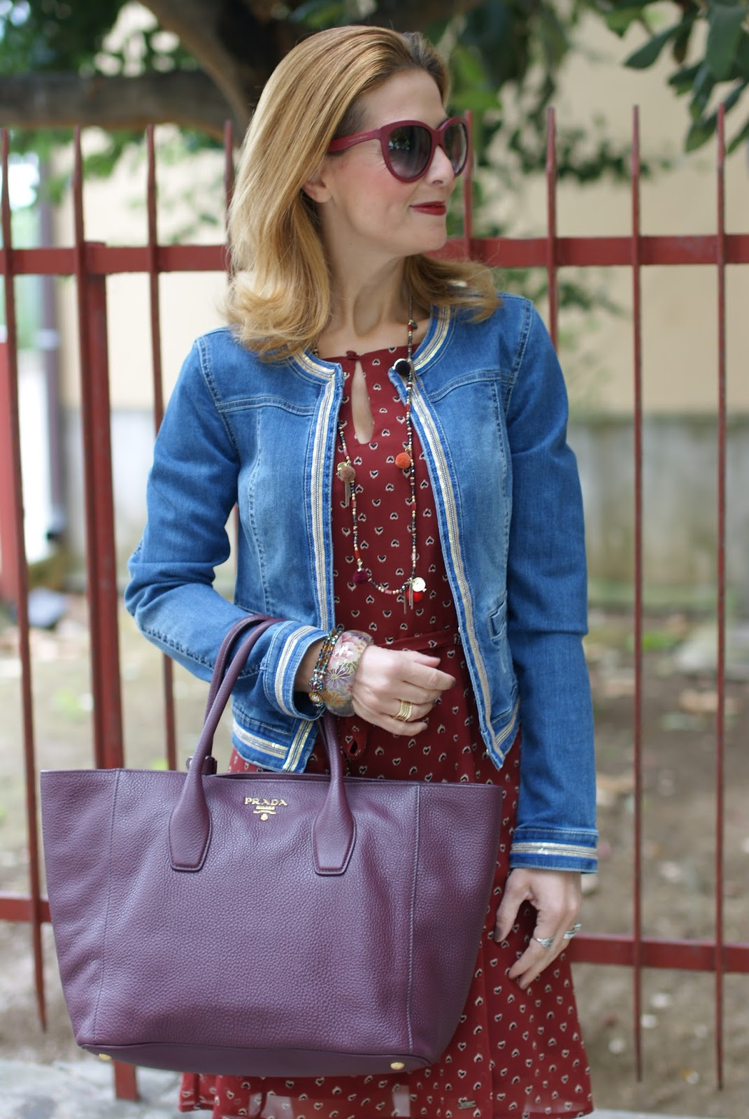 Mismash dress, Prada tote with Fall colors and denim jacket on Fashion and Cookies fashion blog, fashion blogger style