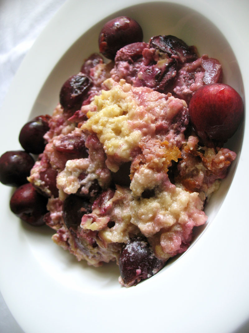 Baked Cherry Oatmeal Pudding | Lisa's Kitchen | Vegetarian Recipes ...