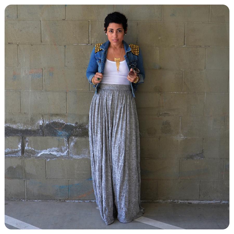 ootd diy maxi skirt denim diy studded jacket fashion