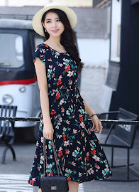 New 2018 Sweet Floral Plus Size Drawstring Waist Smooth Cotton Dress