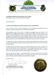 Statement of HM Sultan Muedzul-Lail T Kiram 35th Sultan of Sulu and North Borneo (Sabah)
