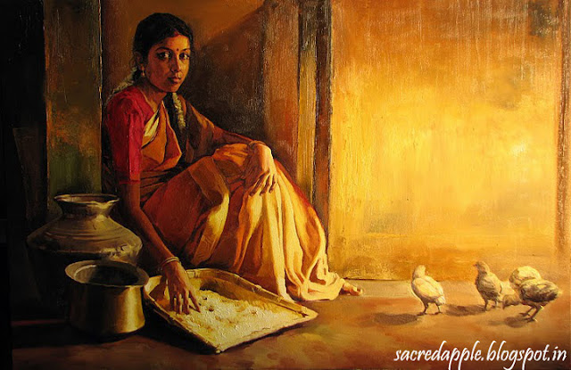 Tamil Girl cleaning Rice