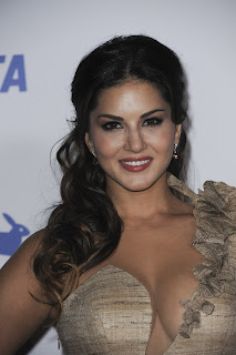 Sunny Leone in golden deep neck gown At PETA 35th Anniversary Party in Los Angeles, California