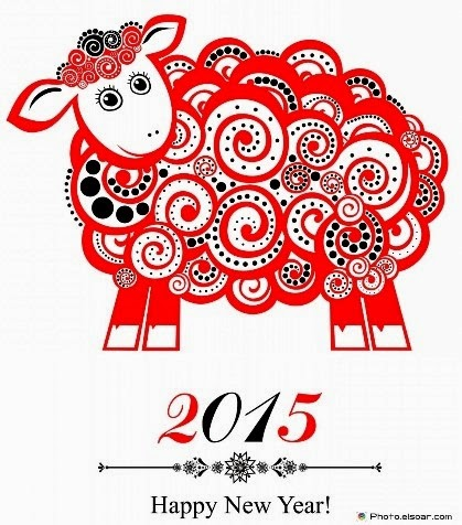 Illustration of sheep with text '2015. Happy New Year'