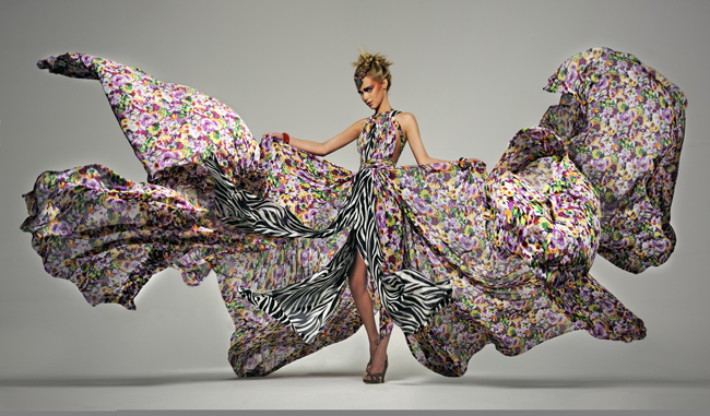Xenia Kuhn floral dress created for a video commercial