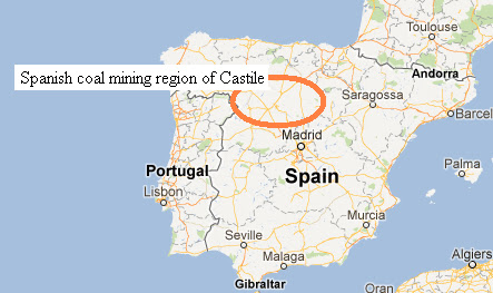Map of Spain's coal mining region of Castile - Google Maps