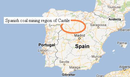 Map of Spain's coal mining region of Castile - Google Maps