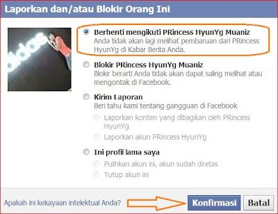cara behenti mengikuti status teman di Facebook
