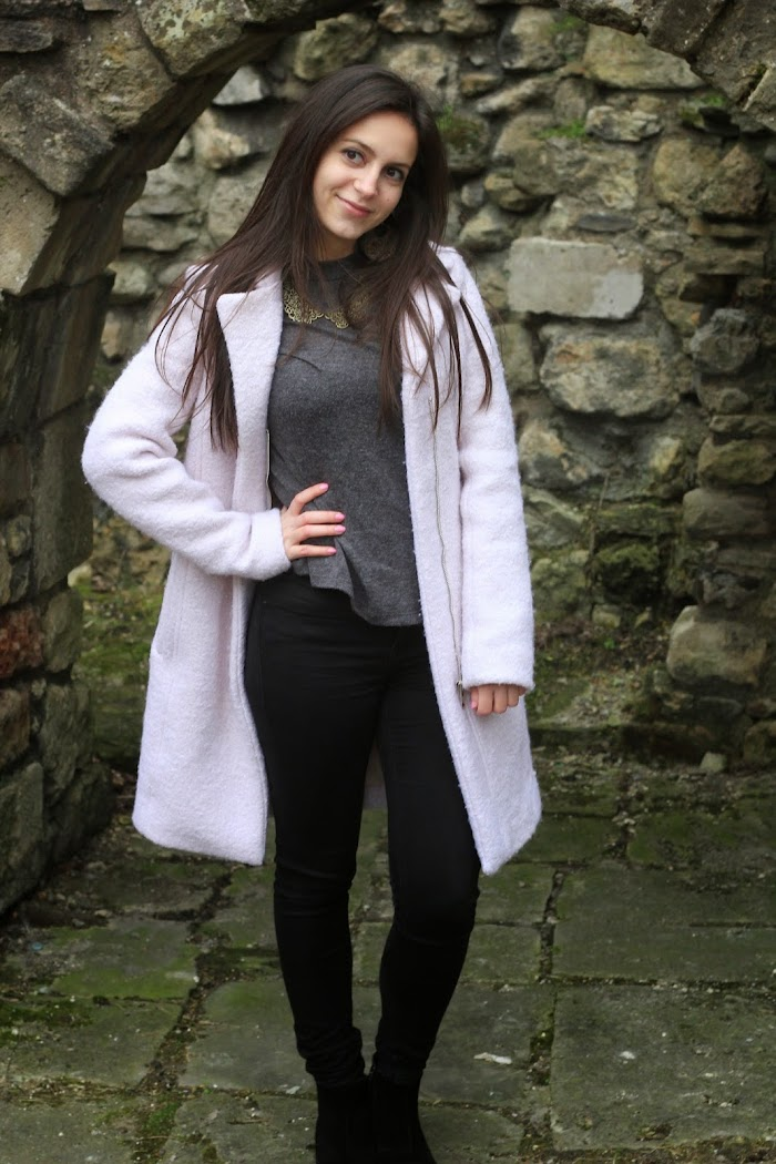 Pink Wool Coat New Look Southampton old town wall ruins Nevena Krstic gardens