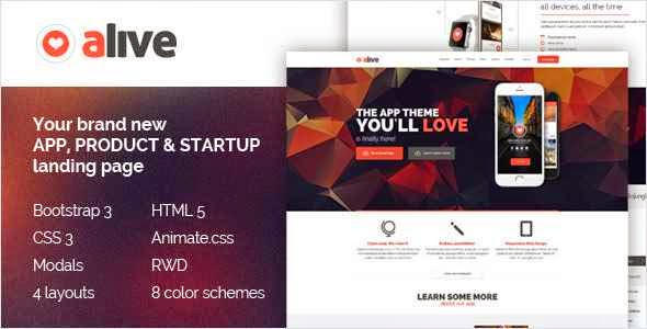 Alive: Responsive Bootstrap HTML5 App Landing Page Template
