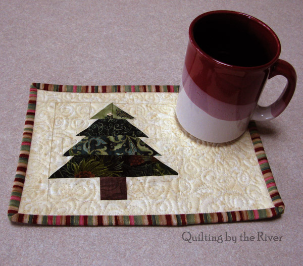 Christmas Tree mug rug tutorial at Freemotion by the River