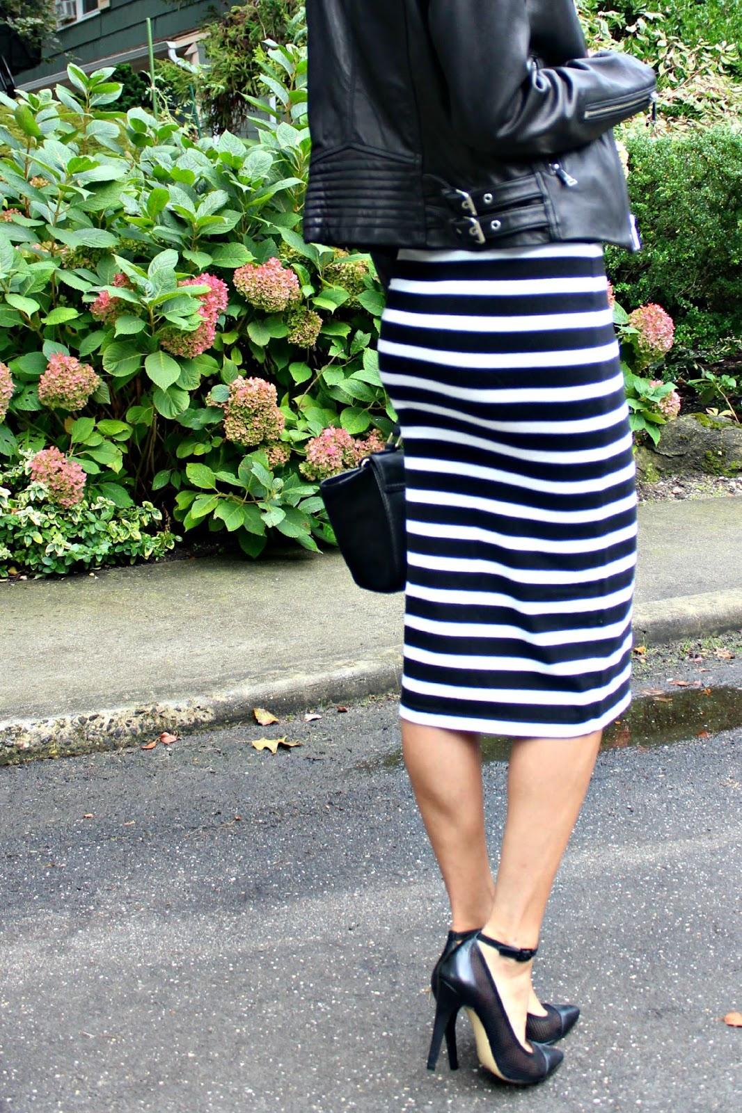 express striped midi skirt
