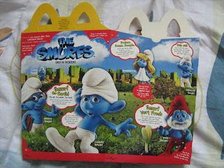McDonalds, Happy Meal, Smurfs, Smurfette,  Papa Smurf, Brainy Smurf, Clumsy Smurf, Grouchy Smurf, Gutsy Smurf