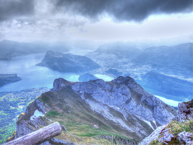 A view from atop Mount Pilatus with Lake Lucerne in the distance