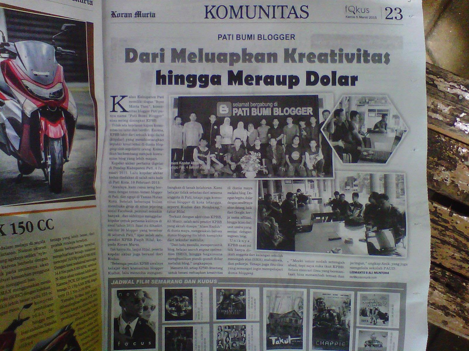 komunitas pati bumi blogger masuk koran lokal