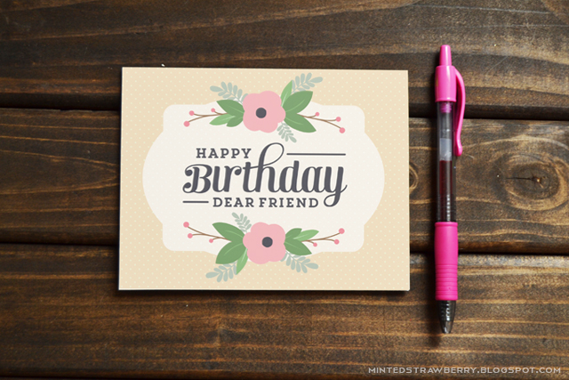 Printable Birthday Stationery Paper ~ Free printable: floral birthday card minted strawberry