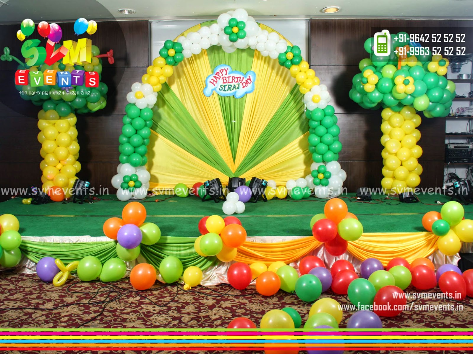 Svm Events 2D amd Semi3D Setup for kids 1st Birthday Party Balloon
