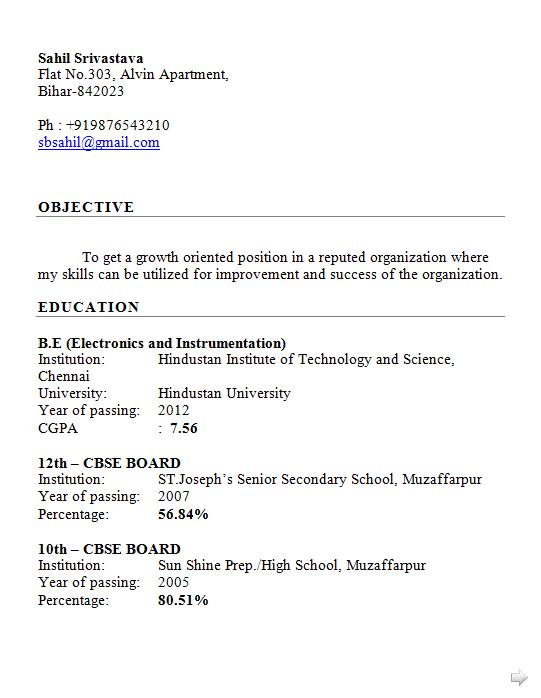 Dynamic Resume: Fresher Engineer Resume Format Free Electronics and ...