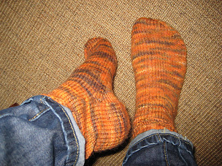 Liz's completed socks knitted in DT Craft and Design alpaca wool nylon DK yarn in shade 'Gingernut'