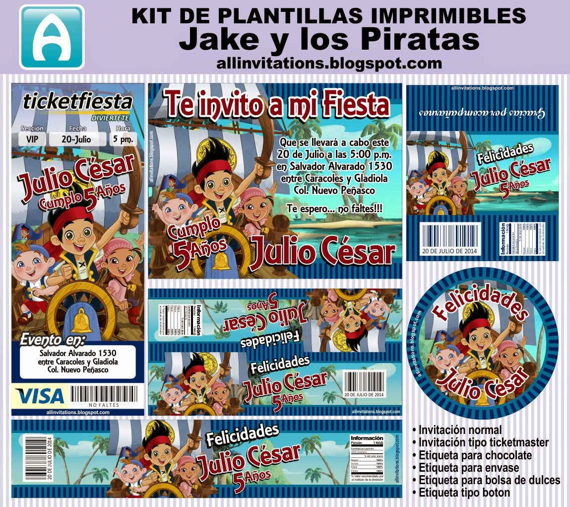 Kit Imprimible Jake y los Piratas | All Invitations