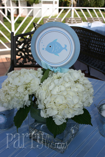 Hydrangea Centerpieces For Baby Shower : Partylicious events pr blue fish baby shower