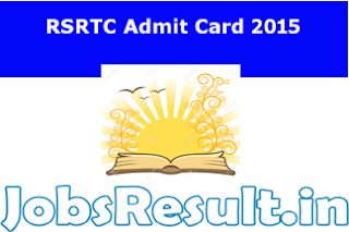 RSRTC Admit Card 2015