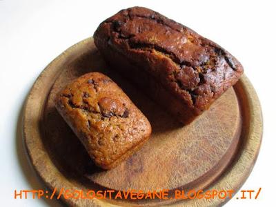 cioccolato, Dolci, farina semi integrale, forno, lievitati, lievito, malto, plumcake, ricette vegan, sciroppo d'agave, zucca, zucchero dulcita,